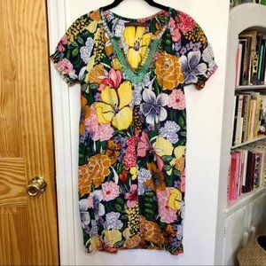 Rapsodia Floral Peasant Puffy-Sleeved Dress